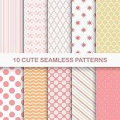Set of 10 cute seamless geometric vector patterns