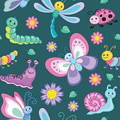 Cute seamless patterns with cartoon happy insects.