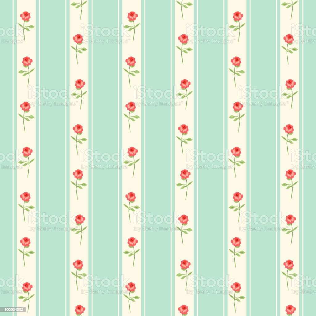 Cute Seamless Shabby Chic Pattern With Roses And Stripes Royalty Free