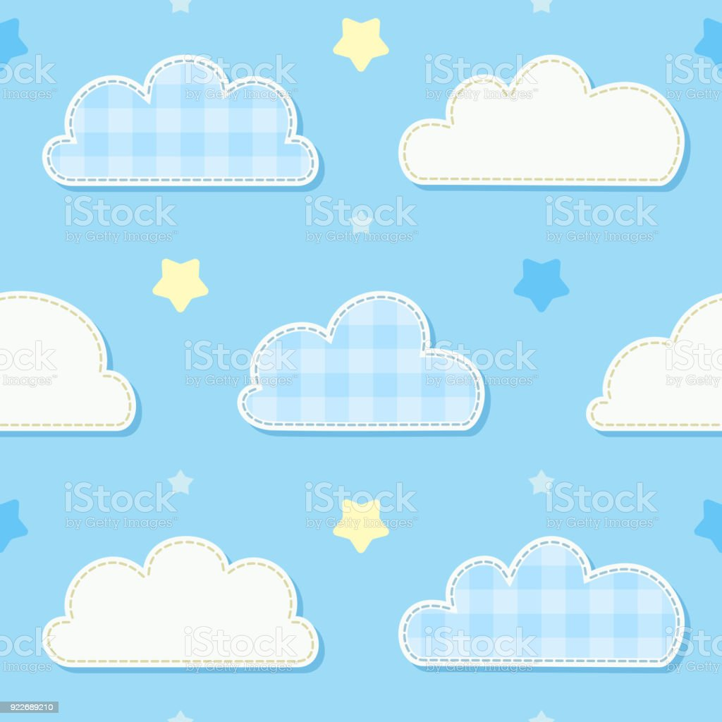 b2b5381c3 Cute Seamless Sky Pattern With Clouds And Stars Childrens Bedroom ...