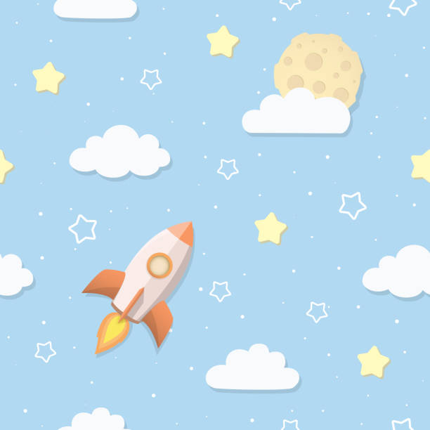 cute seamless sky pattern with full moon, clouds, stars, and rocket. cartoon space rocket flying to the moon. children's bedroom, baby nursery wallpaper. cover or a gift wrap. vector illustration. - chłopcy stock illustrations