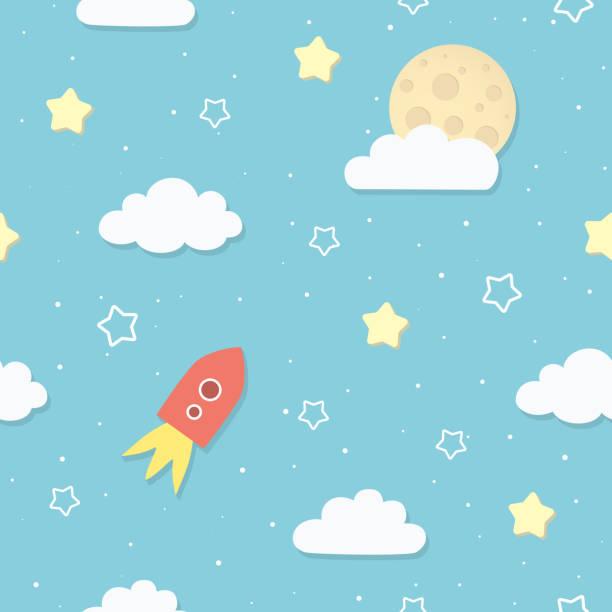 Modèle de mignon ciel sans couture avec la pleine lune, nuages, étoiles et fusée. Fusée de dessin animé vol vers la lune. Chambre d'enfants, fond d'écran de bébé crèche. Couverture ou un emballage-cadeau. Illustration vectorielle. - Illustration vectorielle