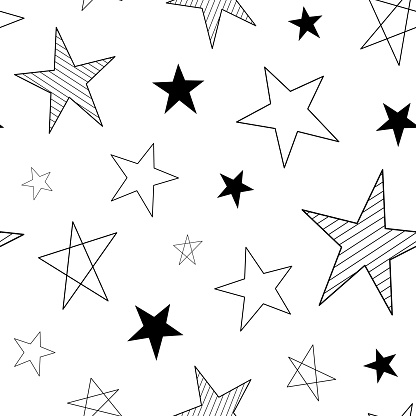 Cute seamless star pattern. Space texture, star background, doodle style, textile and fabric, abstract geometric print.