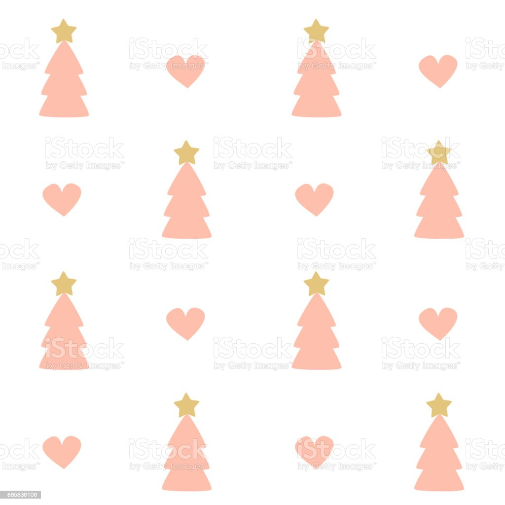 cute seamless vector pattern background illustration with pink christmas trees and hearts vector art illustration