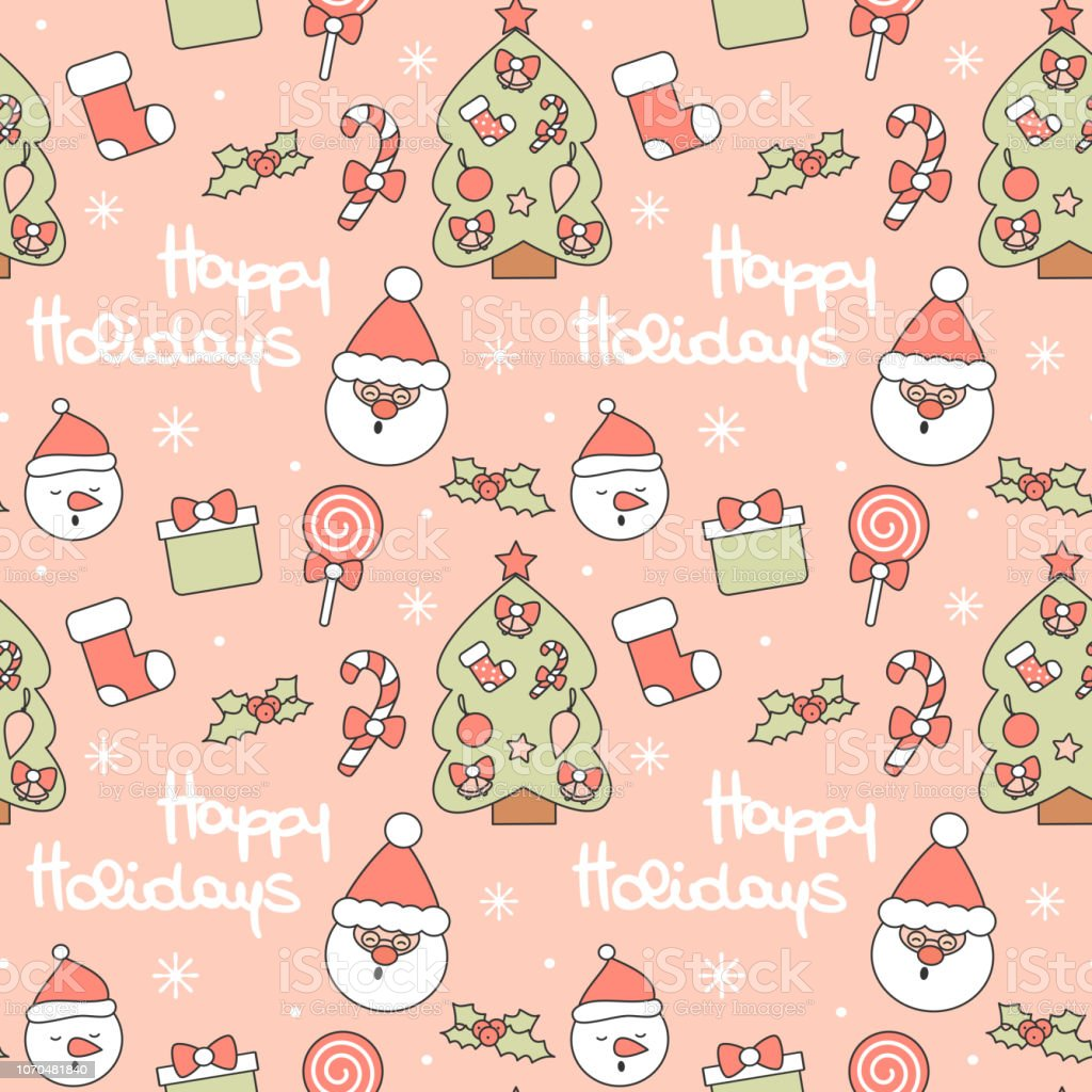 cute seamless vector pattern background illustration with santa claus, christmas tree, candy cane, gift box, sock, lollipop, holly and other holidays decorative elements vector art illustration