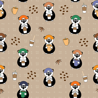 cute seamless vector pattern with panda drinking coffee or tea from paper cup with straw, bamboo leaves and dots, design with and without transparent background