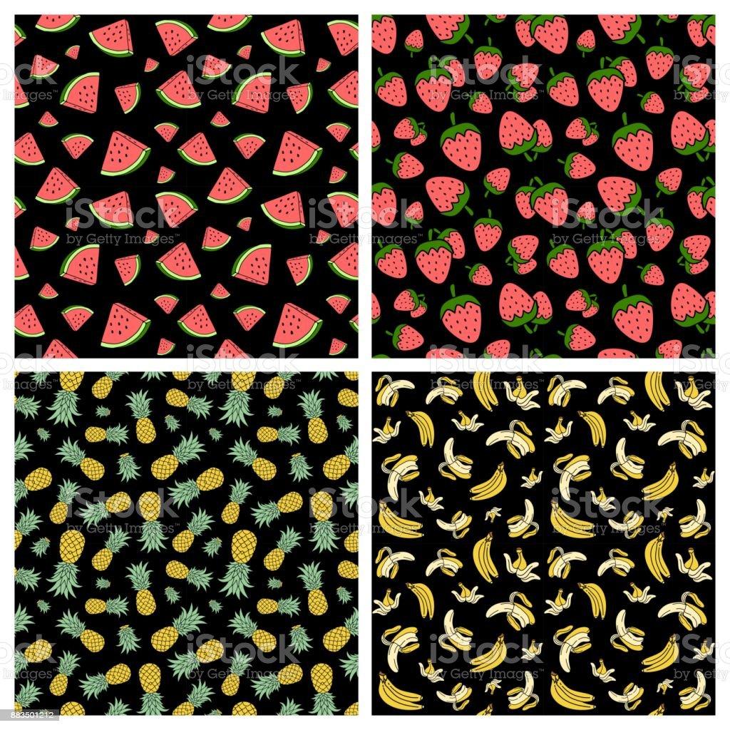 seamsless lindas fruta patrón paquete 1 - ilustración de arte vectorial