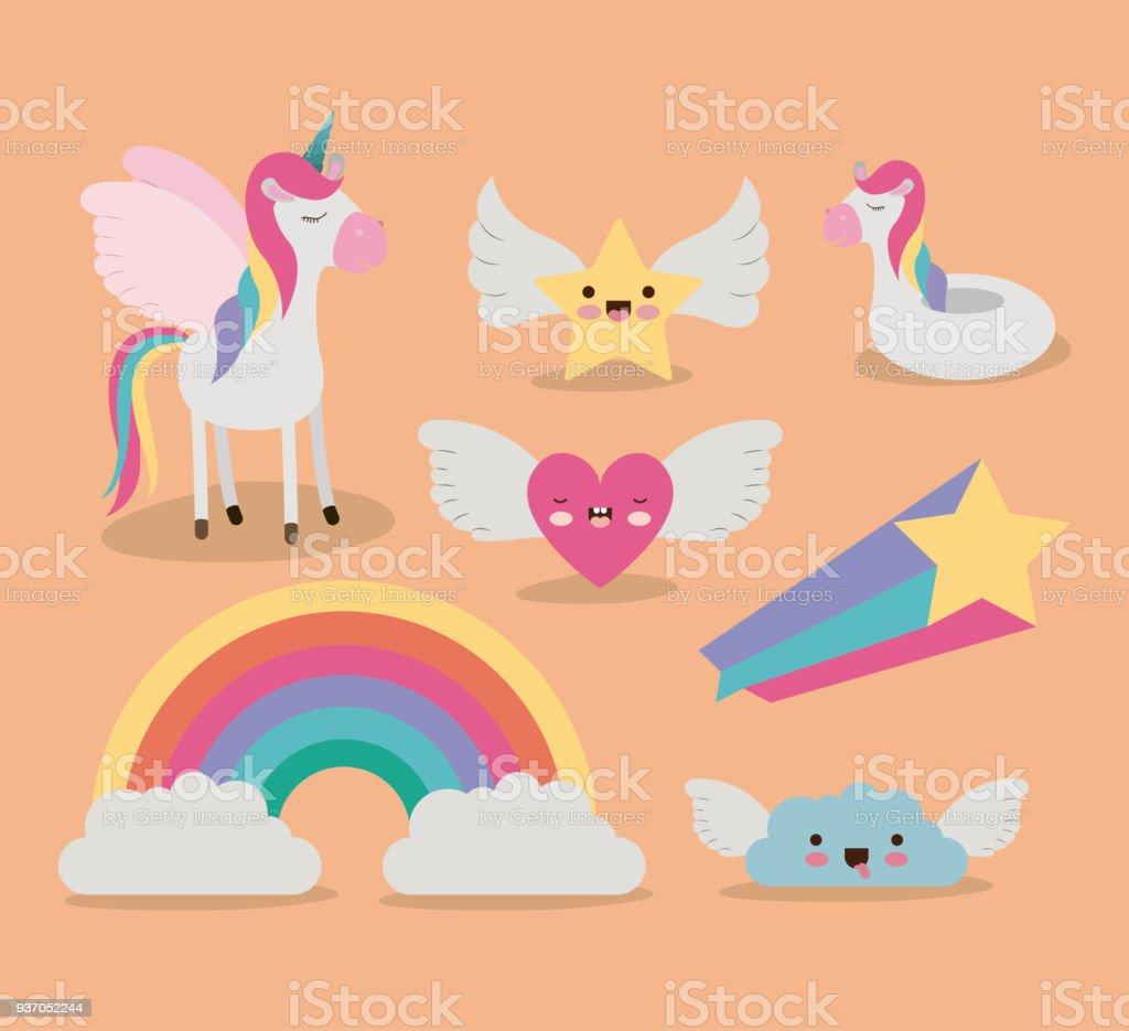 - Cute Set Fantasy Elements Unicorn Rainbow Cloud Star Heart With