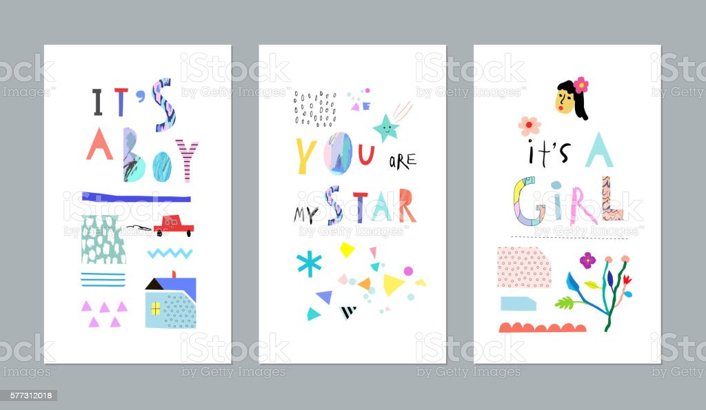 Cute set for baby boy or baby girl. vector art illustration