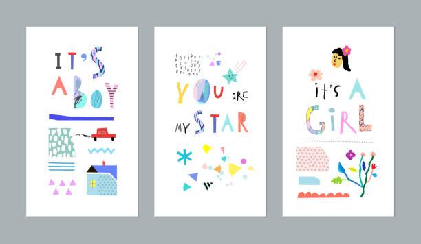 cute set for baby boy or baby girl. - neugeborenes stock-grafiken, -clipart, -cartoons und -symbole