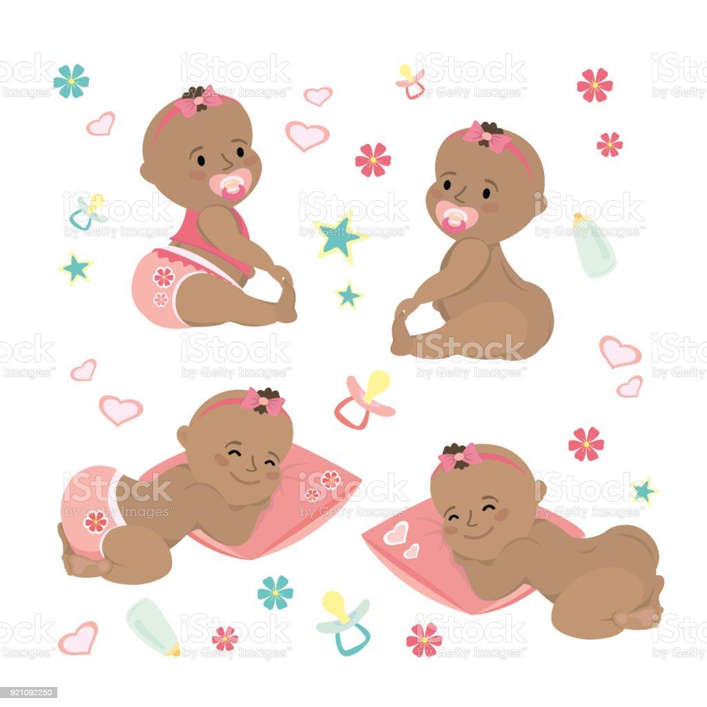 Cute set  Newborn african american  baby vector art illustration