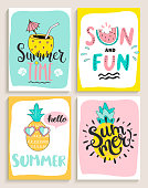 Cute set of 4 bright summer cards with cocktail,sun and fun,pineapple,watermelon.