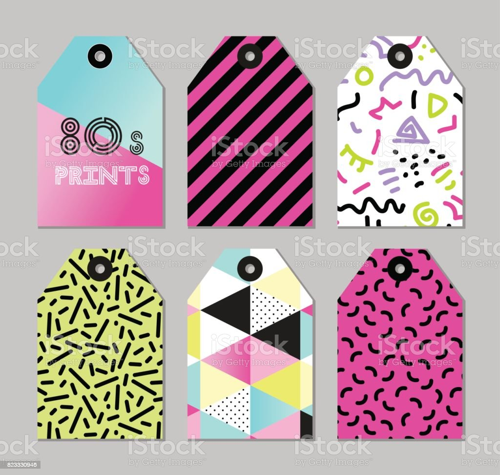 Cute Set Of 80s And 90s Style Trendy Tags Stock Vector Art & More