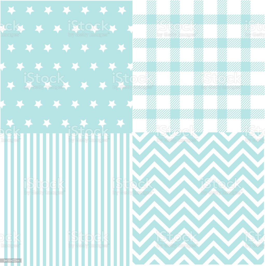596f00413 Cute set of Baby Boy seamless patterns with fabric textures royalty-free  cute set of