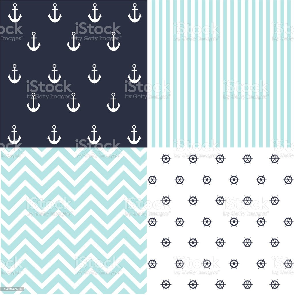 Cute Set Of Baby Boy Seamless Patterns With Fabric Textures Royalty Free