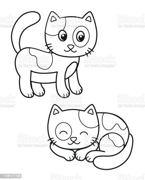 Cute set of cartoon cat vector black and white illustrations for or vector id1158127706?b=1&k=6&m=1158127706&s=612x612&h=3w8ooyalci2rau4sdevmgiukgx6fvpnk2za5smq3id4=