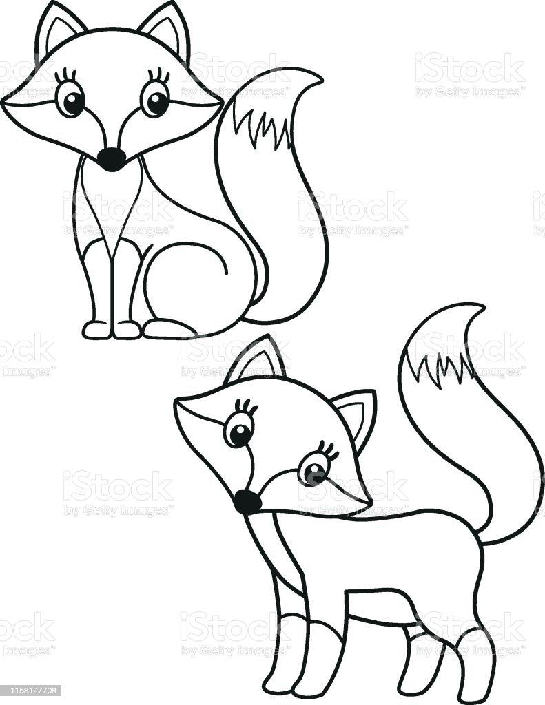 Ilustración De Lindo Conjunto De Zorro De Dibujos Animados