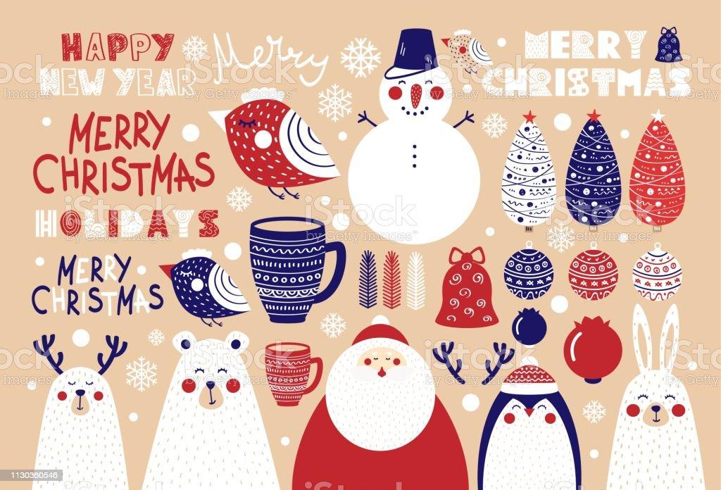 Lindo conjunto de elementos de Natal para cartazes e postais - ilustração de arte em vetor