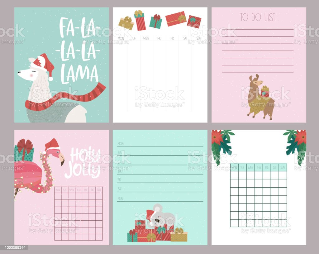 photo about Cute Weekly Planners referred to as Adorable Fastened Of Xmas Weekly Planner And Agenda With Alpaca Flamingo And Koala Undergo Inventory Case in point - Obtain Impression At present
