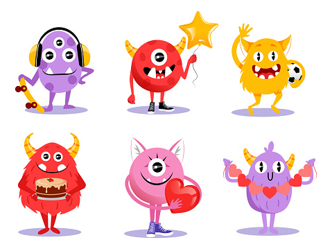 Cute Set Of Different Cartoon Monsters Characters In Flat Style. Vector Illustration With Funny Creatures On White Background. Comic Halloween Monsters With Horns, Big Teeth And Eyes Smiling, Waving