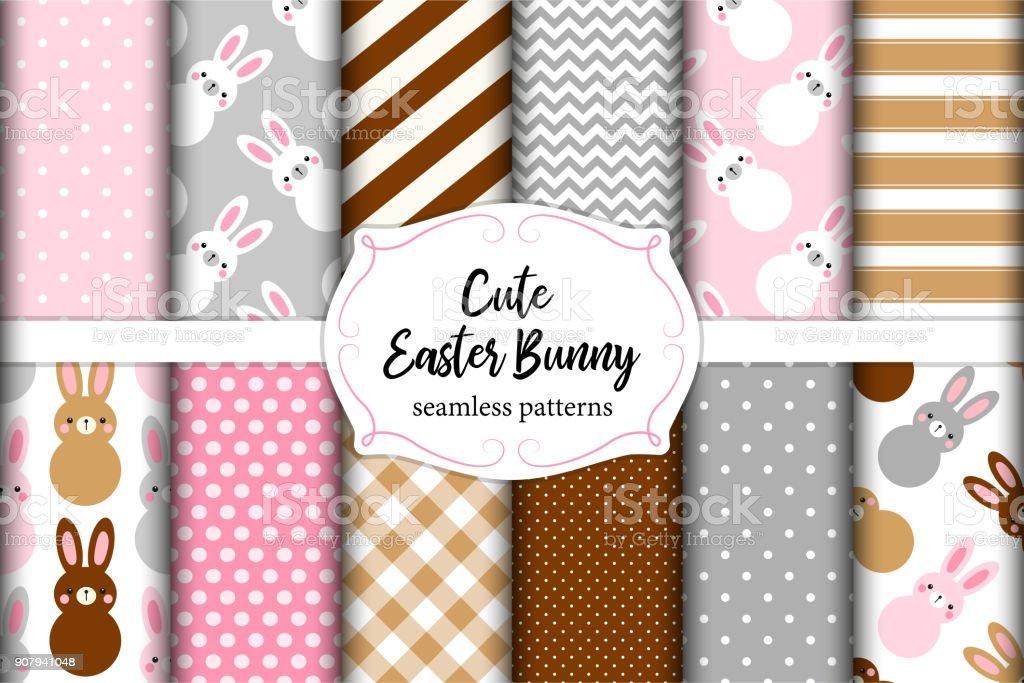 Ilustración de Lindo Conjunto De Pascua Sin Costura Patrones Diseño ...