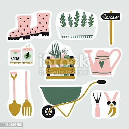 Cute set of garden elements stickers. Gardening tools and plants. Vector clipart.