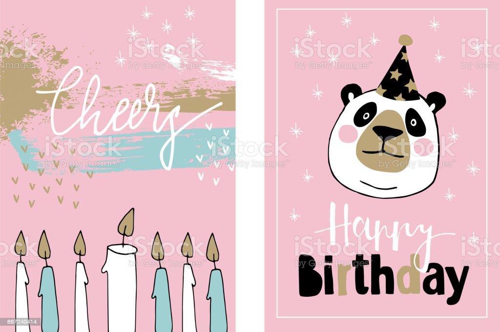 Cute set of hand drawn birthday or baby shower greeting cards cute set of hand drawn birthday or baby shower greeting cards invitations with giant panda filmwisefo