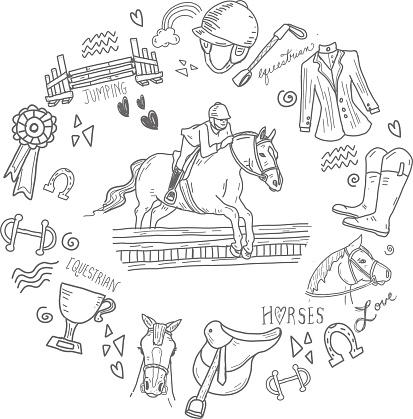 Cute set of hand drawn equestrian horse rider elements