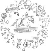 Cute set of hand drawn equestrian horse rider elements