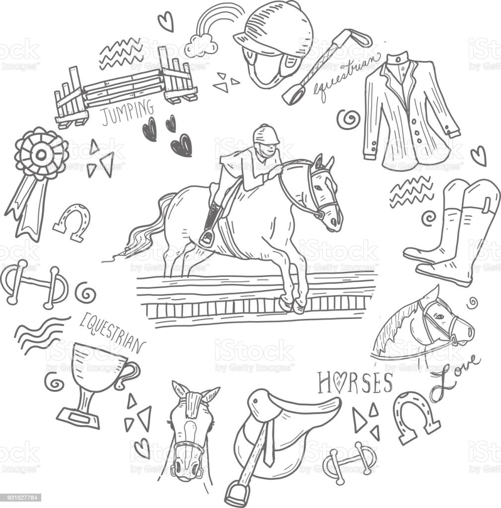 Cute set of hand drawn equestrian horse rider elements vector art illustration