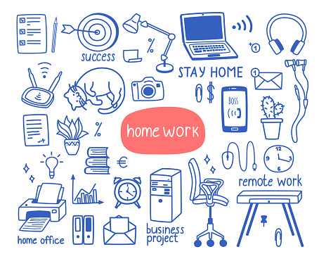 A cute set of items on the theme of work from home, home office