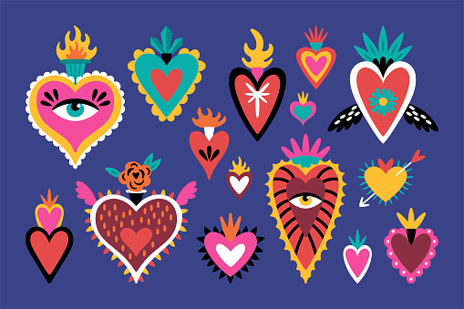 Cute set of mexican sacred hearts for Day of the dead Dia de los Muertos holiday. Childish print for cards, stickers, patches and apparel. Vector illustration