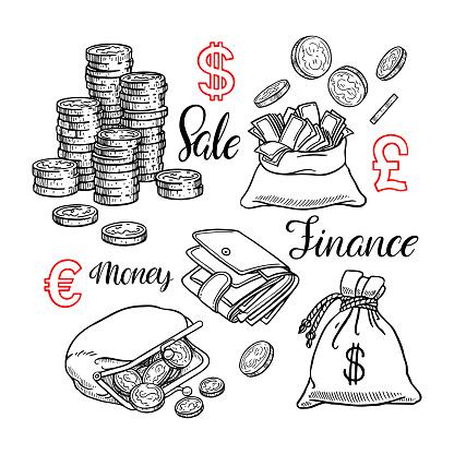 Cute set of coin, money, finance. Hand-drawn illustration