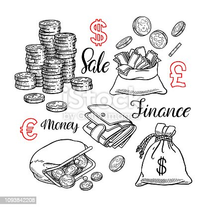 Cute set of coin, money, finance. Hand-drawn illustration
