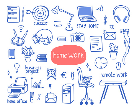 Cute set of objects on the theme of working from home, the period of isolation.