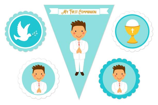 ilustraciones, imágenes clip art, dibujos animados e iconos de stock de lindo conjunto de elementos imprimibles para primera comunión para niños - comunión