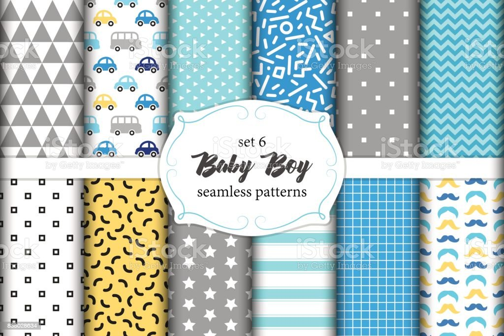 Cute Set Of Scandinavian Baby Boy Seamless Patterns With Fabric Textures Royalty Free