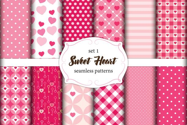 Cute set of scandinavian Sweet Heart seamless patterns with fabric textures Cute set of geometric scandinavian Sweet Heart seamless patterns with fabric textures for your decoration shabby chic stock illustrations