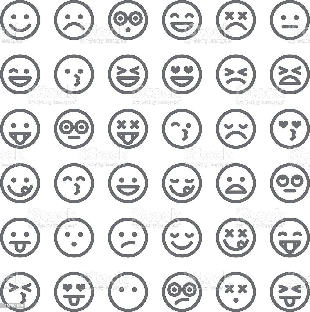 Cute set of simple emojis stock vector art 537631828 istock - Smiley simple noir et blanc ...