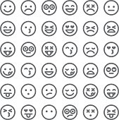 A simple set of 36 different emoji faces. Emotions include happy, sad, surprised, hungry, dead, upset, angry, ambivalent, in love, and so on.