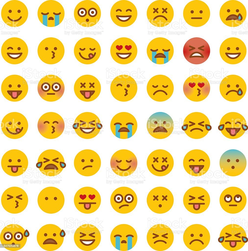 Cute Set of Simple Emojis - Royalty-free Anger stock vector