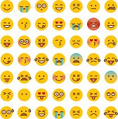 A simple set of 49 different emoji faces. Emotions include happy, sad, surprised, hungry, dead, upset, angry, ambivalent, in love, and so on.