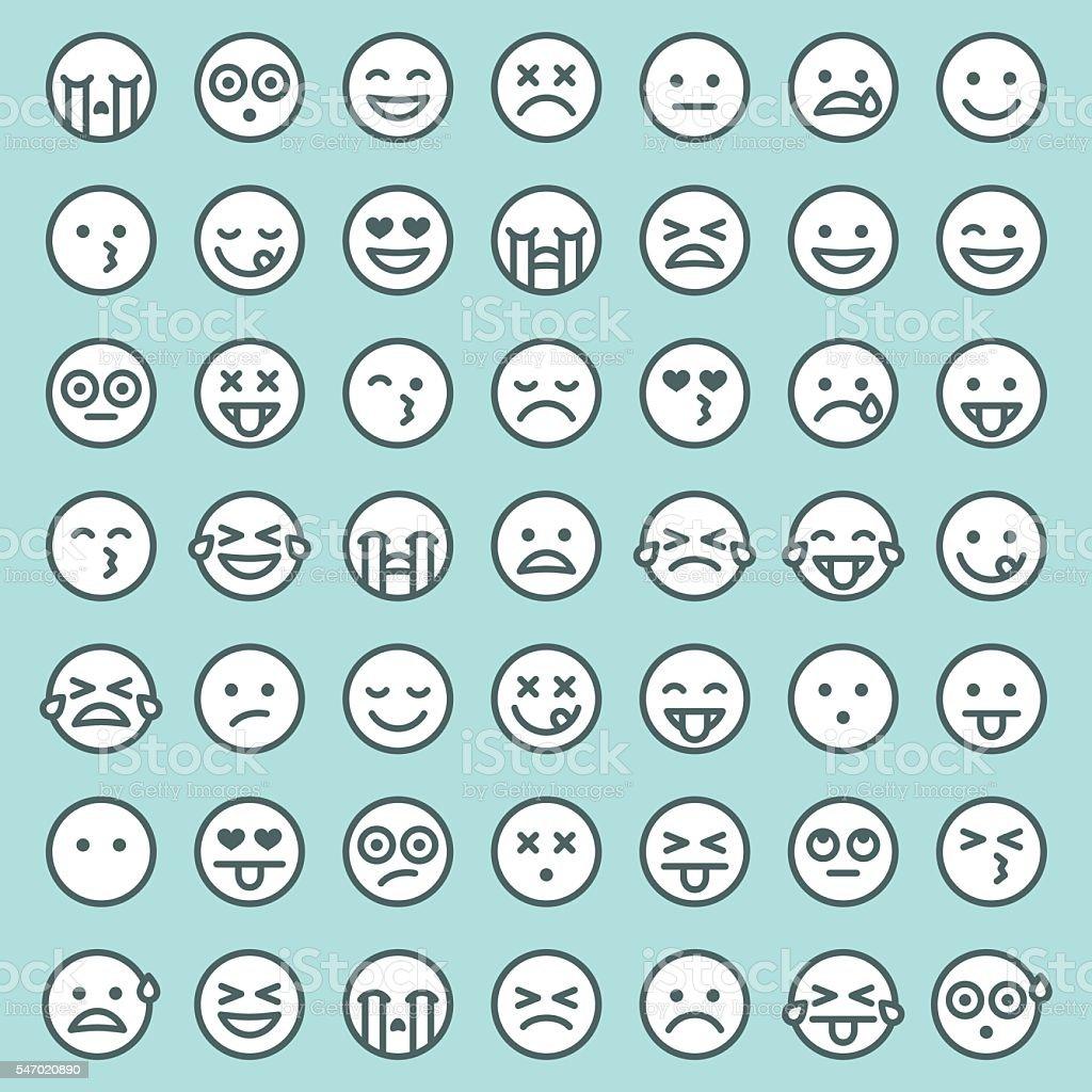 Lindo Conjunto de Emojis Simple - ilustración de arte vectorial