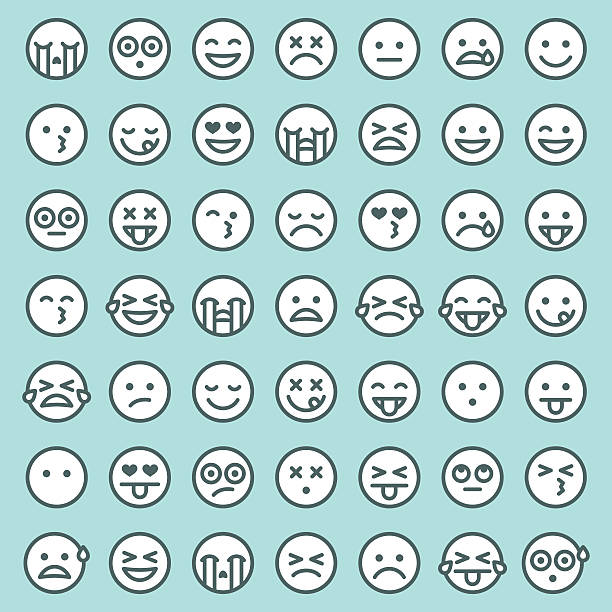 Cute Set of Simple Emojis vector art illustration