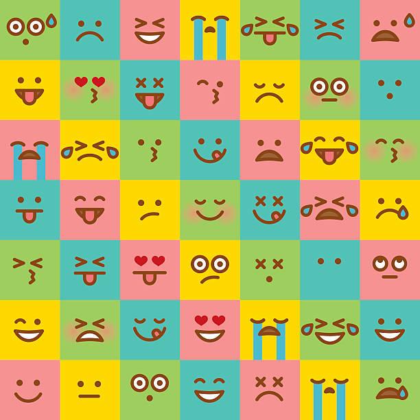 ilustraciones, imágenes clip art, dibujos animados e iconos de stock de lindo conjunto de emojis simple - lágrimas de emoji alegre