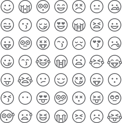 Cute Set of Simple Emojis clipart