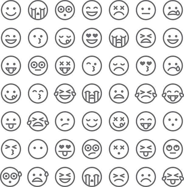 かわいいのセットシンプル 絵文字 - 笑顔点のイラスト素材/クリップアート素材/マンガ素材/アイコン素材