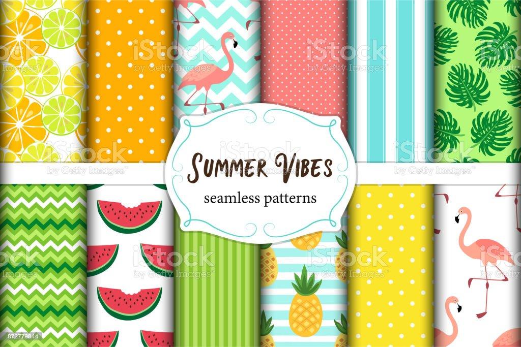 夏感じシームレス パターンのかわいいセットです。ベクトルの図。 ベクターアートイラスト
