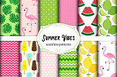 Cute set of Summer Vbes seamless patterns. Vector illustration for your decoration