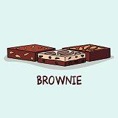 Cute set of sweet brownie, Vector cartoon style.